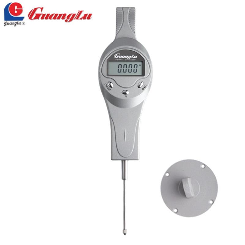 GUANGLU Digital Dial Indicator 0-50mm/0.01 Dial Com Lug Calibre Centímetro display LCD Escudo de Alumínio Medindo ferramenta