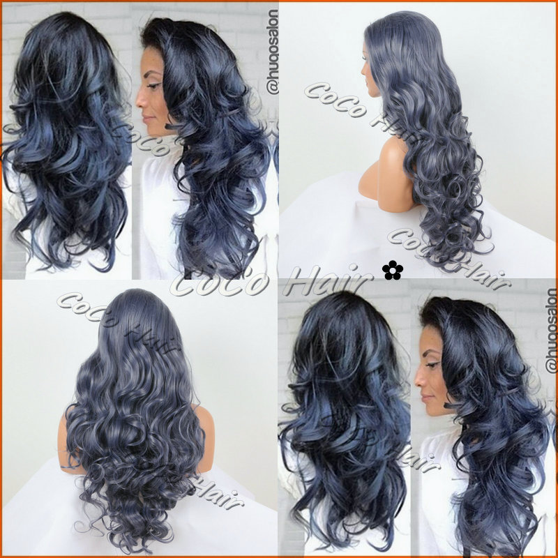 Exquisite Langen Lockigen Haar Dunkelgrau Blau Synthetic