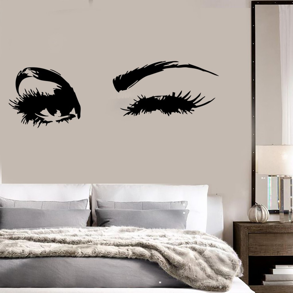 big eye lashes wink wall stickers beautiful eyes wallpaper decor wall art mural vinyl decal. Black Bedroom Furniture Sets. Home Design Ideas