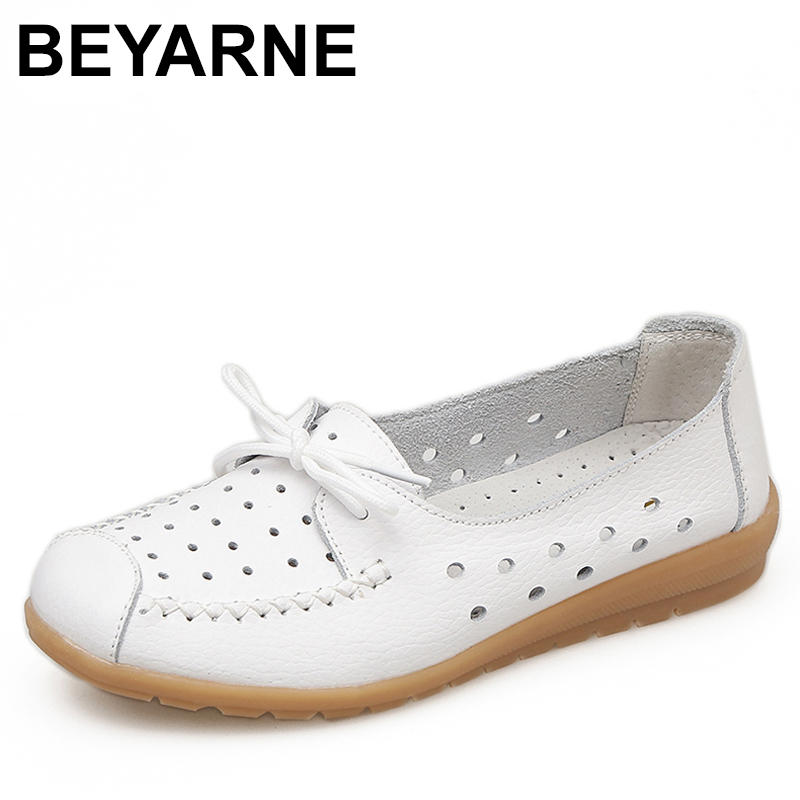 BEYARNE Summer women flats shoes women genuine leather shoes ladies Cutout Slip on ballet flats loafers ballerina flats 2018 women shoes comfort pointed toe patent leather ballerina ballet flats portable travel flats summer slip on shallow shoes