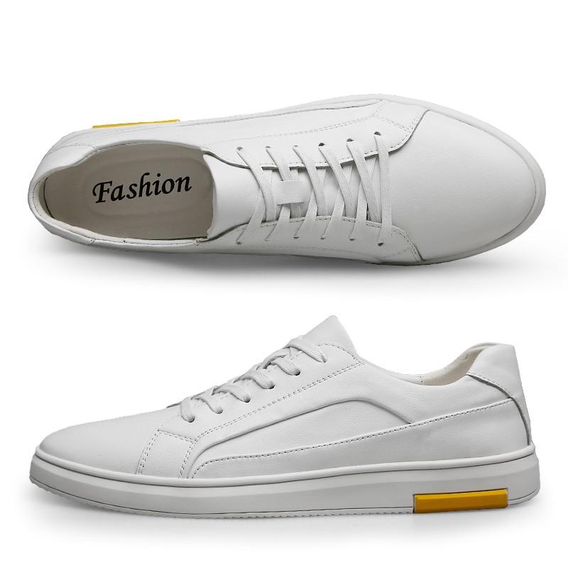Casual Calçado Couro 2019 Sapatos Clax Do Branco white De Masculino Dos Sapata Homens Primavera Outono Black Homem Caminhada Sapato B8xx470Pn