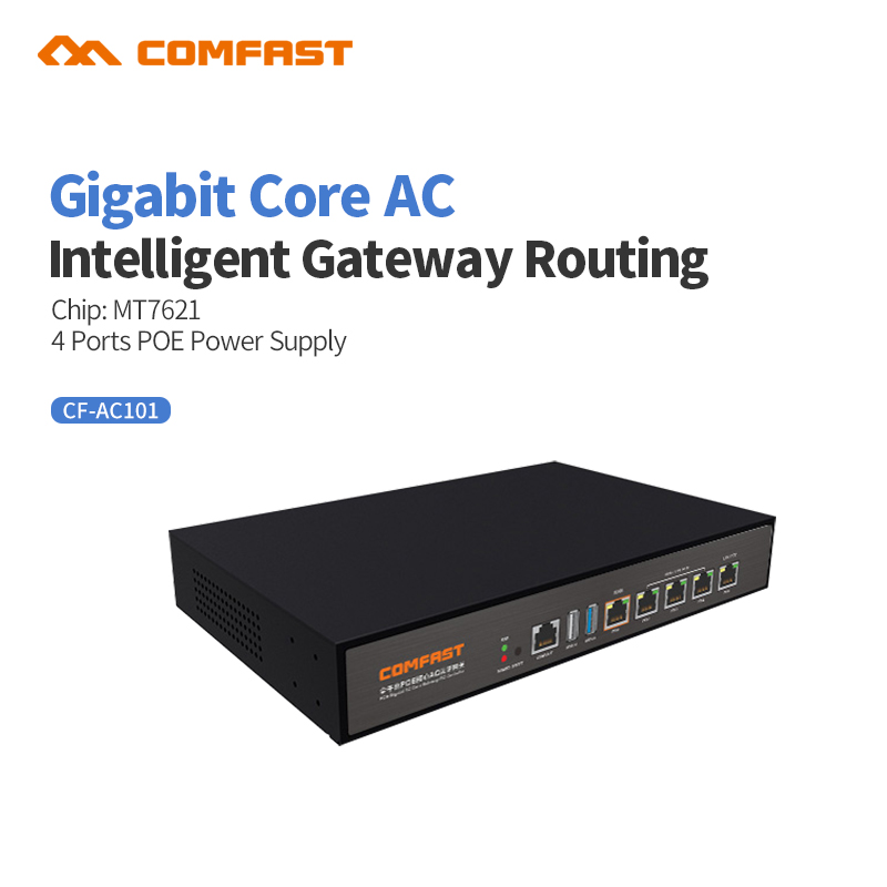2018 Comfast CF-AC101 full Gigabit AC Authentication Gateway Routing MT7621 Core Gateway with 4 port poe Wifi Project AC Router comfast cf ac200 full gigabit ac authentication gateway routing mt7621 880mhz core gateway wifi project manager 5 1000mbps ports