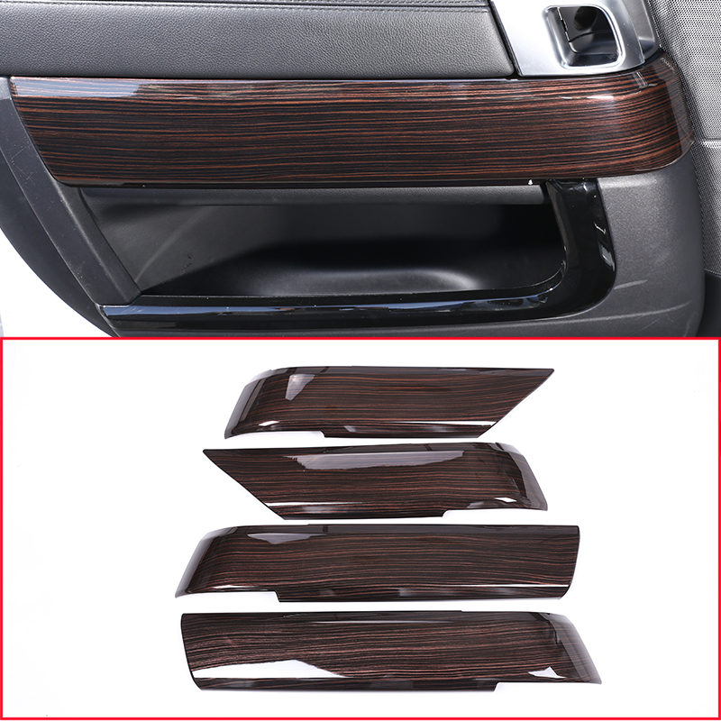 Red Ash Wood Style For Landrover Range Rover Sport RR Sport 2014-2018 ABS Plastic Interior Door Decoration Panel Cover Trim 4pcs carbon fiber style abs plastic for land rover range rover evoque 12 17 center console gear panel decorative cover trim newest