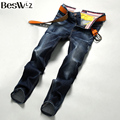 Beswlz Men Denim Jeans Straight Slim Male Scratched Jeans Pants Casual Business Style Men Ripped Blue Jeans Homme 9507