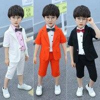 Summer Children Wedding Dress Suit Birthday Party Boys Kids Formal Costumes Short Sleeve Blazer+Shirt+Shorts Kids Boys Outfits