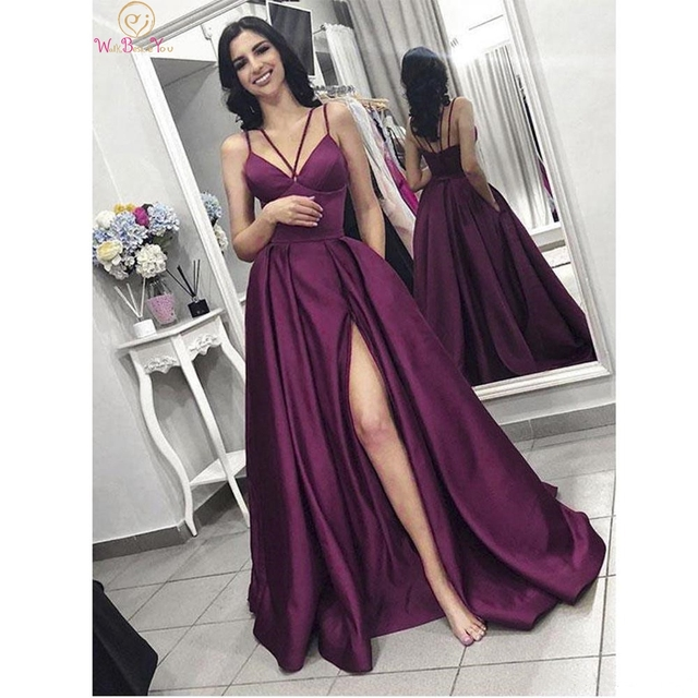 Purple Long Satin Evening Dresses 2020 Spaghetti Strap High Split A Line Sleeveless V Neck Formal Prom Gown Walk beside You