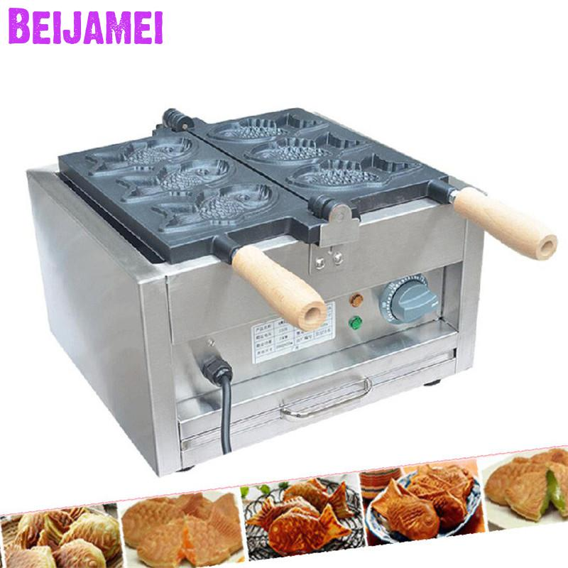 Beijamei 110v 220v Electric Taiyaki Waffle Maker With3 Fishes Commercial Waffle Maker Fish Machines Price Home Appliances