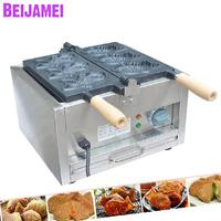 BEIJAMEI 110v 220v electric taiyaki waffle maker with3 fishes commercial waffle maker fish machines price