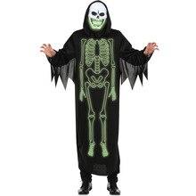 Унисекс Хэллоуин Костюмы для косплея светящийся Скелет плащ душераздирающий призраки зомби вампиров Кровосос демон дьявол Косплэй