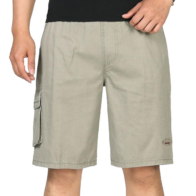 Large Size Trend Mens Shorts Pockets Casual Mens Shorts Elastic Waist Comfort Knee Length Khaki Gray Black Blue XL-6XL Shorts