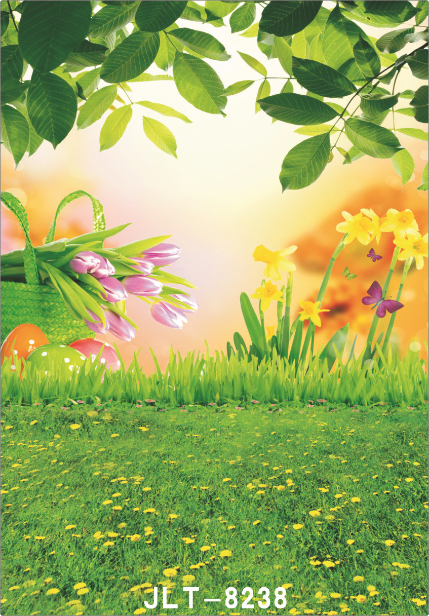 Easter Egg Spring Grassland Flower Backgrounds for Photo Studio Computer Printed Vinyl Photography Backdrop for Wedding Children
