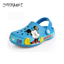 f6befb1e612f92 ZMHYAOKE 2018 New Kids Slippers Summer Aqua Water Shoes Kids Croc Pool for Girls  Breathable Cartoon