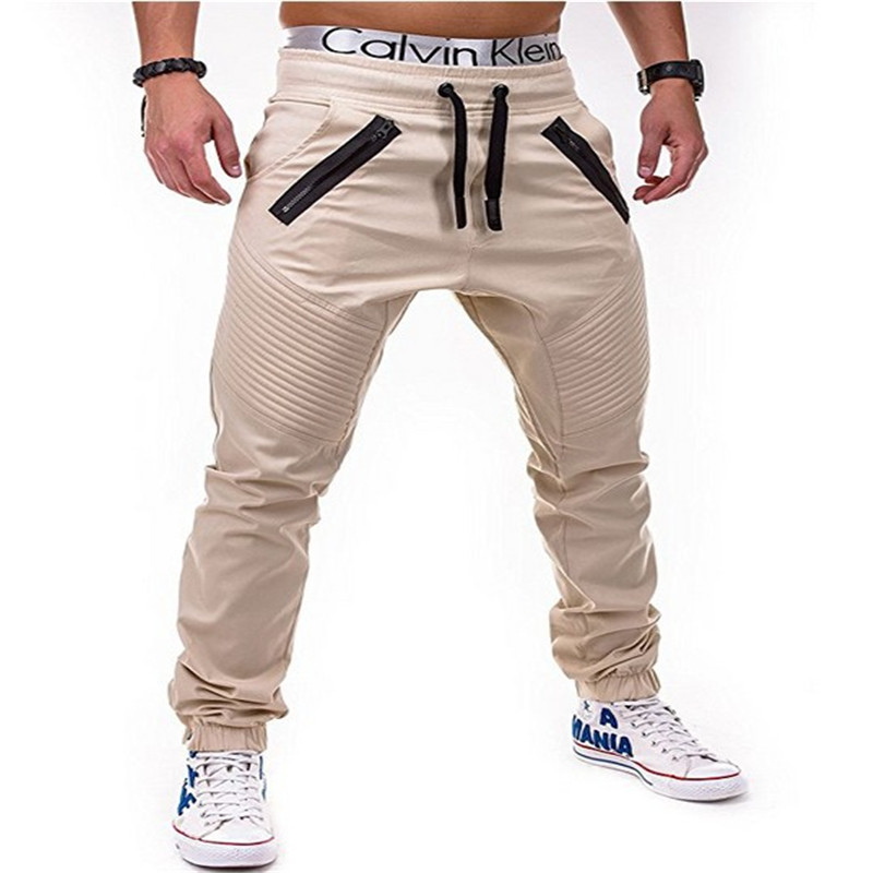 Mens casual cotton Solid color zipper decoration Elastic Fitness Workout Pants 2018 New High Quality Jogger Sweat Trousers