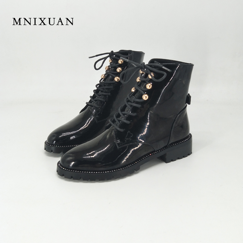 MNIXUAN 2017 autumn new arrival women boots genuine leather winter ladies shoes with plush lace up martin ankle boots big size40 2017 new autumn winter shoes for women ankle boots genuine leather boots women martin boots lace up platform combat boots botas