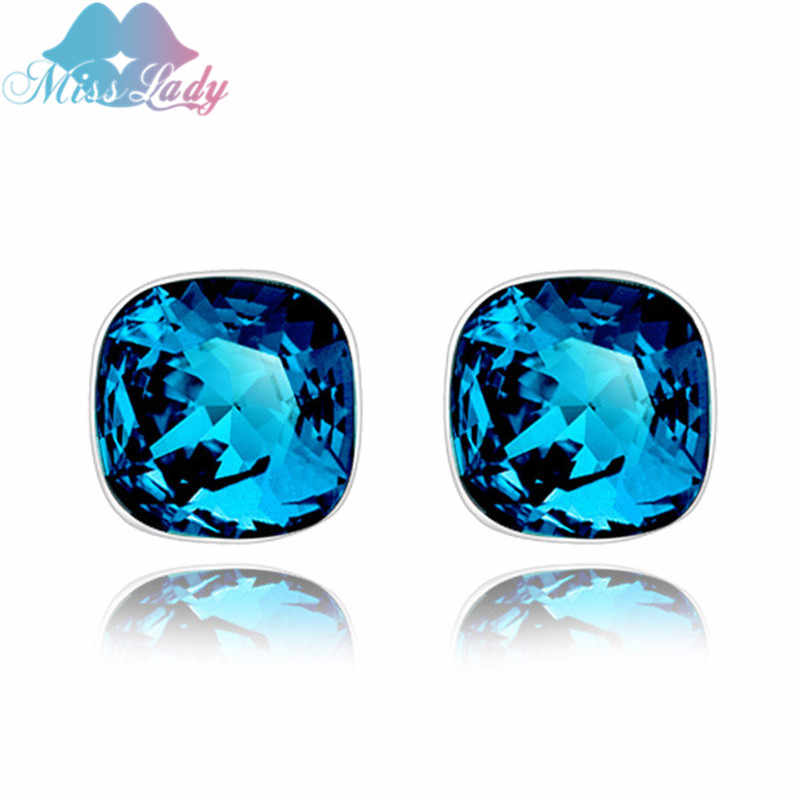 Miss Lady Rose Warna Emas Berlian Imitasi Minimalis Crystal Vintage Blue Square Stud Anting-Anting Fashion Perhiasan untuk Wanita MLY4600