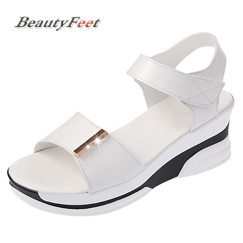 BeautyFeet Sandals Women Summer Shoes Woman Wedges Platform Sandals Square High Heel White Black Casual Women Shoes Size 35-39 hzxinlive elegant summer sandals women high heel wedges shoes woman round toe roman sandals ladies footwear female casual shoes