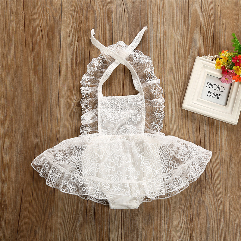 Summer Baby Girls Lace Romper Dress 2018 New Newborn Baby Girls Backless Strap Floral White Beige Romper Dress Sundress Vestidos