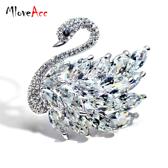 MloveAcc Luxury High Quality Rhinestones Crystal CZ Zircon Swan Brooches Pins Jewelry for Women Girls Prom Dresses