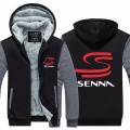 Mens Hoodie F1  Racer  Thicken Fleece Ayrton Senna Winter Coat US EU Plus Size