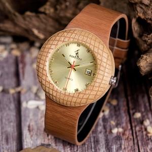 Image 5 - בובו ציפור עץ קוורץ שעון גברים נשים שעונים רצועת עור שעוני יד מתנות עץ תיבת W iQ17 זרוק חינם