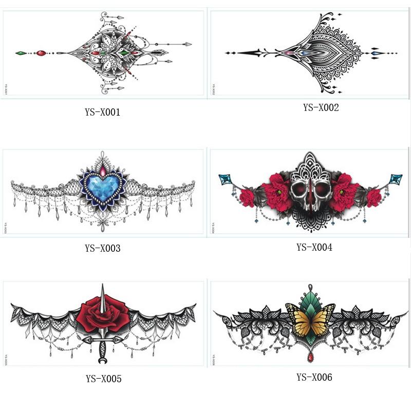 1 шт. новый грудь татуировки наклейки большой цветок плечо руку грудины татуировки рукавом боди-арт смерть череп роза черный огонь сексуальная женщины