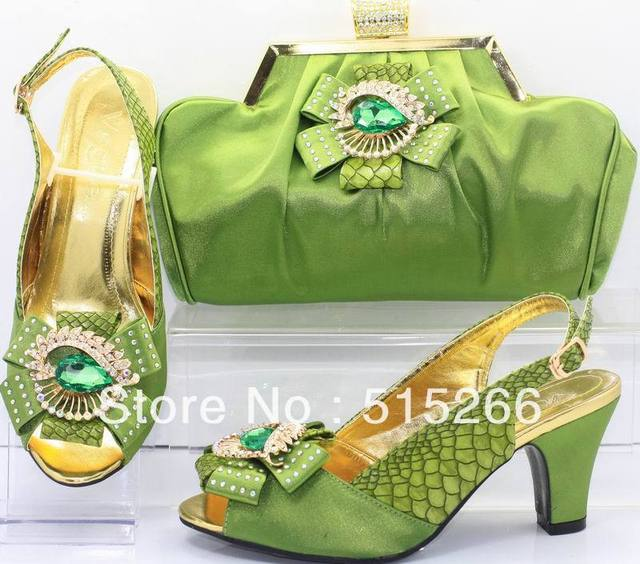 FREE SHIPPING! Hot sale Fashion Italy design pumps matching bags ,army green,Size 38,39,41, SB8704