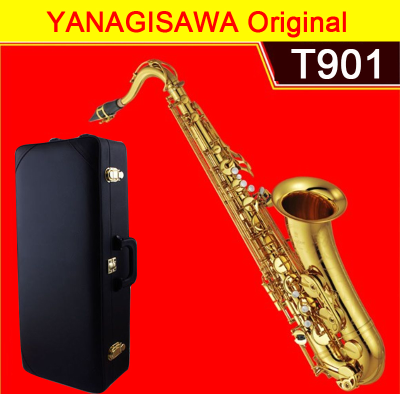 YANAGISAWA 901 Tenor Saxophone Bb Gold plating T901 Sax Professional musical instrument Original With Case Mouthpiece Gloves&box musical instruments yanagisawa t wo37 tenor saxophone bb tone nickel silver plated tube gold key sax with case mouthpiece gloves