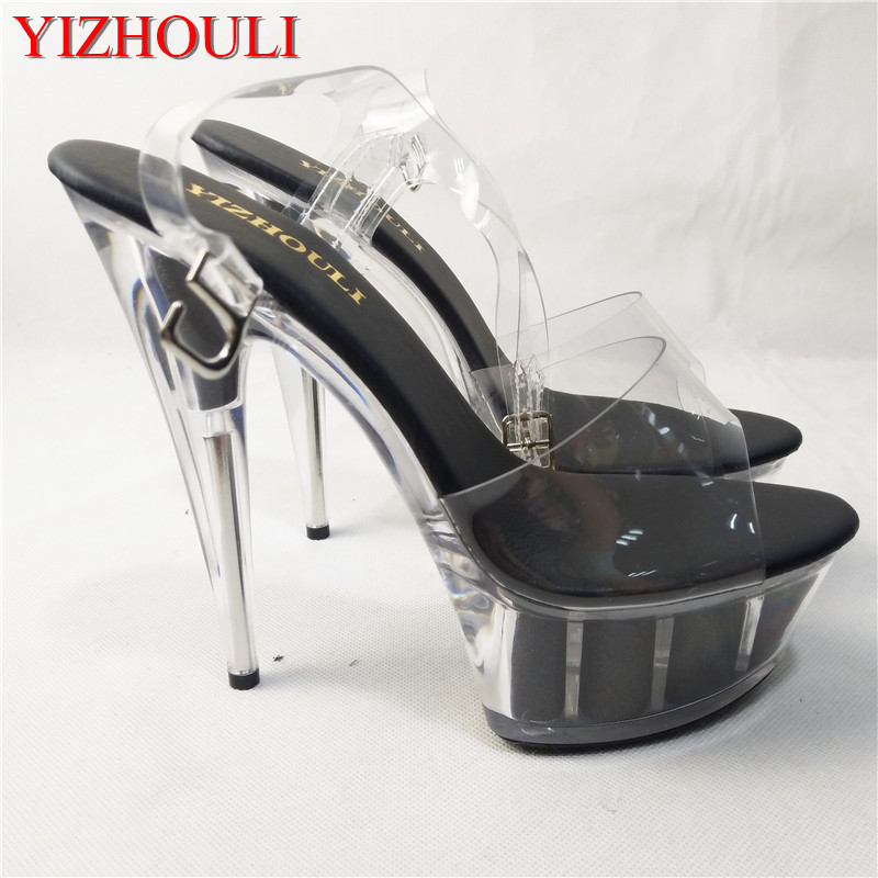 2018 fashion runway shoes club sexy shiny platform shoes transparent 15 cm high heel sandals