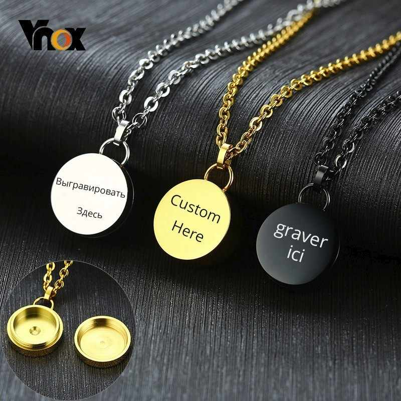 Vnox Free Personalize Round Cremation Ashes Keepsake Pendants For Women Men Stainless Steel Necklaces Memorial Gift