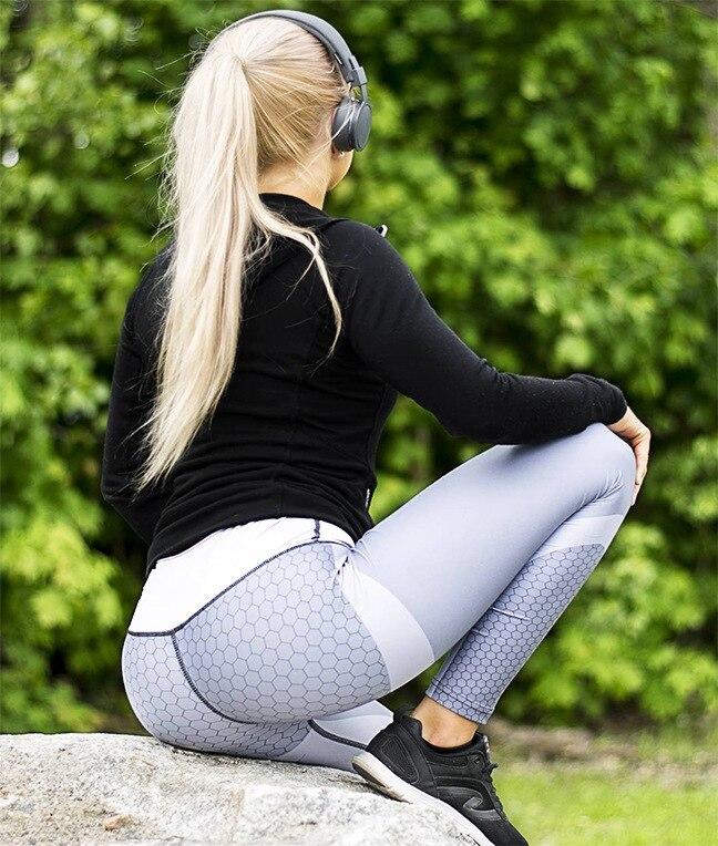 Mesh Pattern Print Leggings Fitness Leggings For Women Sporting Workout Leggins Jogging Elastic Slim Black White Pants 3