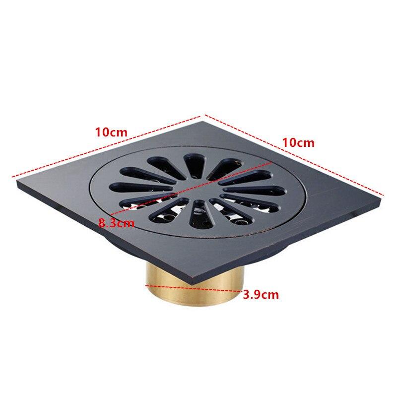 Color negro Cobre Ba/ño Ducha Drenaje del piso 10X10 cm Tama/ño Lavadora Drenajes