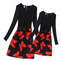 2017 New Mother Daughter Dresses Girls Long Sleeve Dress for Teenagers Butterfly Dress Mother & Kids Girls Clothing Mae e Filha