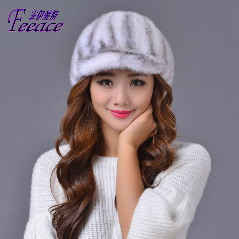 Skullies Beanies Mink mink wool hat hat lady warm winter Knight peaked cap cap peaked cap skullies