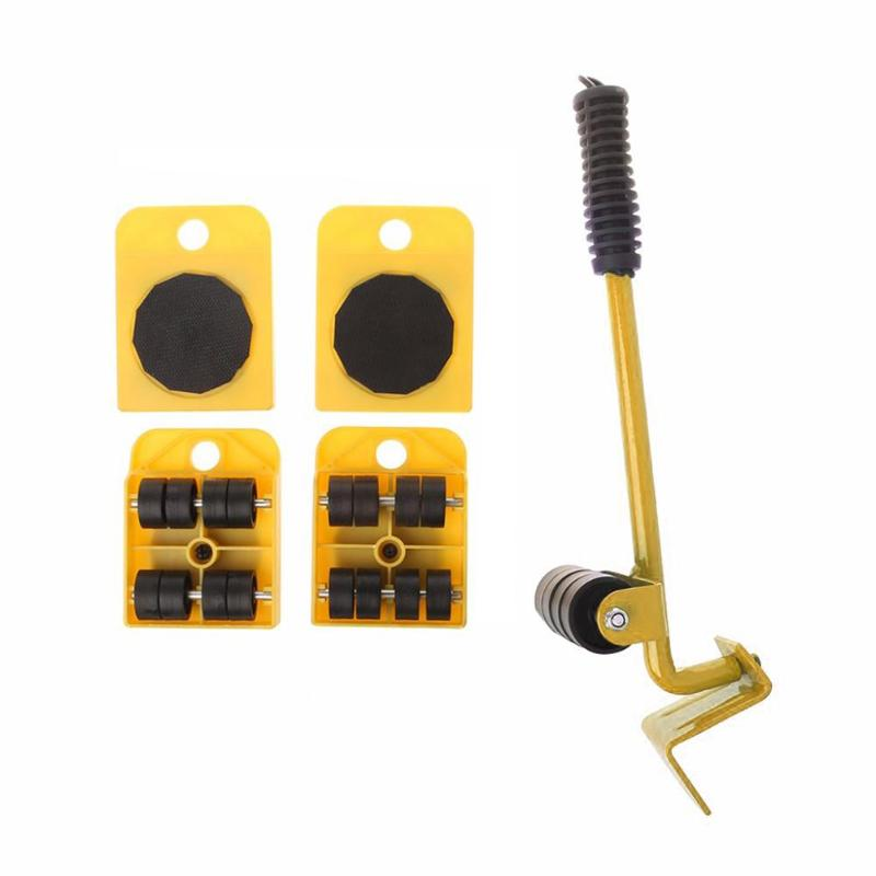 Furniture Mover Tool Set Furniture Transport Lifter Heavy Stuffs Moving Tool 4 Wheeled Mover Roller+1 Wheel Bar Hand Tools Set