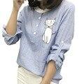 Mulheres tops e blusas 2016 nova moda dos desenhos animados bordado listrado camisas de manga longa gola doce ocasional magro camisa escritório