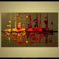Hand-painted pintura a óleo da foto da lona pintura abstrata moderna da parede da sala de estar um pequeno veleiro navio veleiro arte