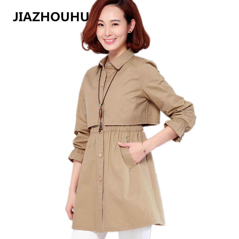 2017 Spring Solid Ladies Coat Women Slim Fashion Long   Trench   Coat Pocket Plus Size 4XL Single-breasted Autumn Winter Windbreaker