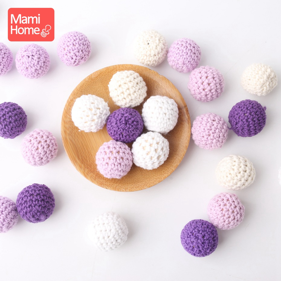 Mamihome 20pcs 20mm Wood Teether Colorful Crochet Beads Wooden Teething BPA Free DIY Necklace Bracelet Chewing Toys Baby Teether
