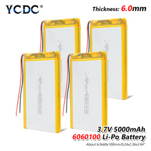 1/2/4x Li Po Li-ion Batteries Lithium Polymer Battery 3 7 V Lipo Li Ion Rechargeable Lithium-ion 6060100 5000mAh Bateria Replace цена