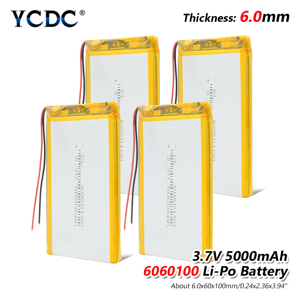 1/2/4x Li Po Li-ion Batteries Lithium Polymer Battery 3 7 V Lipo Li Ion Rechargeable Lithium-ion 6060100 5000mAh Bateria Replace image