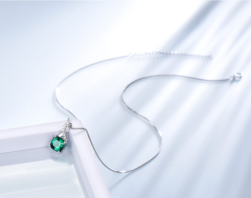 UMCHO Emerald 925 sterling silverNecklace for women NUJ051E-1pc (4)