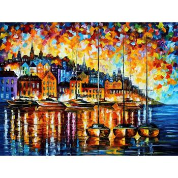Contemporary art harbor of corsica hand painted knife paintings landscape oil on canvas High quality