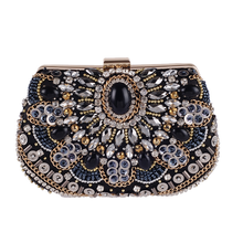 New Handmade Beading Evening Clutch For Women Lady Crystal Floral Pattern Party Wedding Handbag Fit Dress Crossbody Shoulder Bag