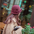 Hot-selling fashion pure wool woolen women's dome felt hat Korean flower small hat autumn and winter bowl wool woolen hat A179