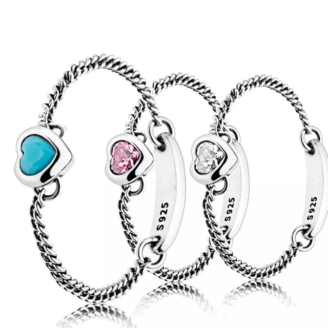 9607d3678 Newest Luxury Summer Rings Spirited Heart Ring, Cyan Blue Crystal Pink  Clear CZ Jewelry For Woman Chain Link Ring Girlfriend