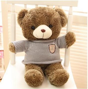 Livraison gratuite 90 cm en peluche ours en peluche jouet viennent avec écharpe meilleur souple peluche