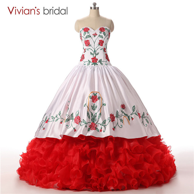 Red and White Embroidery Ball Gown Quinceanera Dresses Pattern ...