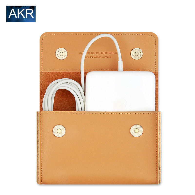 Leather Pouch case For Macbook Accessories Mouse Data Line Power Spply Storage...