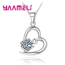 Romantic Hollow Out Heart Shape Austrian Crystal Necklaces Pendants 925 Sterling Silver Women Jewelry Statement Necklace(China)