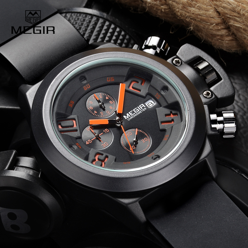 Megir Fashion Mens Silicone Band Sport Quartz Wrist Watches Analog Display Chronograph Black Watch for Man